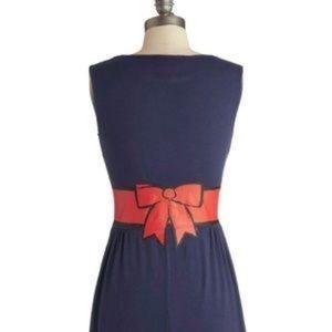 MODCLOTH Fervour Plus Size Red Bow Print Dress